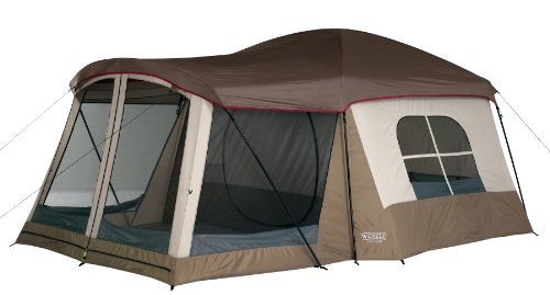 Wenzel Klondike 16 X 11-Feet Eight-Person Family Cabin Dome Tent (Light Grey/Taupe/Red), Outdoor Stuffs