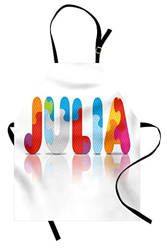 Ambesonne Julia Apron, Puzzle Style Colorful Letters Preschool Theme Girl Name with Roman Mythology Roots, Unisex Kitchen Bib Apron with Adjustable Neck for Cooking Baking Gardening, (Julia Child Costume Ideas)
