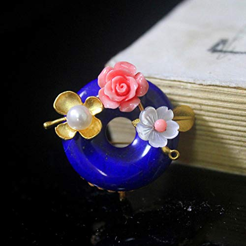 THTHT Brooch Pendant Dual-Use Shell Flower Women's Accessories Lapis Pearl Handmade Corsage Vintage Exquisite High-End Jewelry Luxury