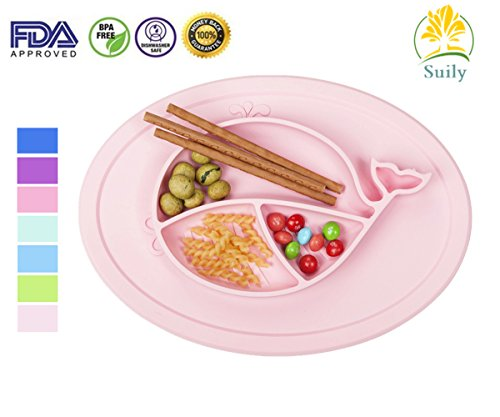 Suily Babies Highchair Feeding Tray Round Silicone Suction Placemat for Children, Kids, Toddlers,Kitchen Dining Table with Built in Plate and Bowl,Little Whale (Light (Tray Compact Lite Cart)