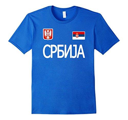 Mens Serbia t-shirt Serbian Soccer Jersey Style . 2XL Royal Blue