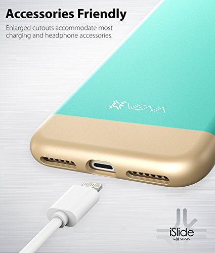 iPhone 7 Funda, Vena [iSlide][Two-Tone] Dock-Friendly Slim Fit Protector duro Case Cover para Apple iPhone 7 (4.7) - Teal / Oro Teal / Oro