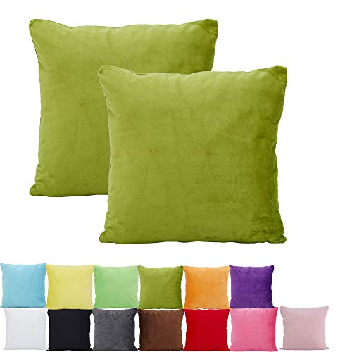 Alimama 2 Pcs Solid Color Chenille Decorative Throw Pillow Covers, Euro Pillow Shams, European Throw Pillow Covers, Indoor/Outdoor Cushion Covers(15.75 x 15.75 Inch,Olive Green) ()