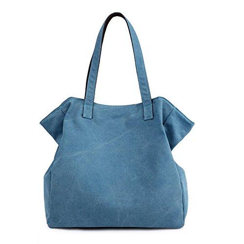 BISSER azul Lona con marrón celeste para Girl Chica de de Mujer Bolso diseño Bisser de dZxtfOqw