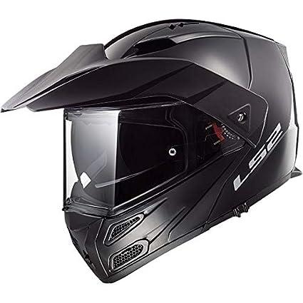 LS2 FF324 Metro Evo PJ Flip Up Motorbike Helmet with peak Gloss Black XL
