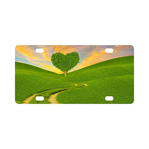 Teisyouhu Fantasy Green Heart Shaped Tree on a Spring Meadow Automotive Novelty Humor Chrome Aluminum License Tag Frame Vehicles License Cover Holder for Front Back Auto Tag