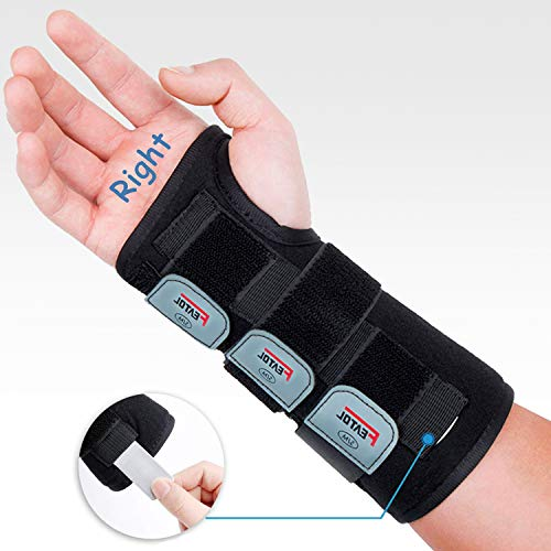 (Wrist Brace with Splints for Carpal Tunnel and Night Sleep,Right Hand,Small/Medium Size,Black,Adjustable and Strong,Relieve Injuries,Wrist Pain,Sprain)