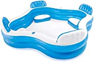 Square Inflatable Pool with Seats Cup Holder Family Paddling Pool Swimming Pool Bath Tub for Kids Toddlers Adu