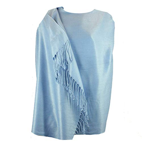 Silver Fever Nepal Solid Two Ply Warm Soft Pashmina Scarf Shawl Wrap (Sky Blue)
