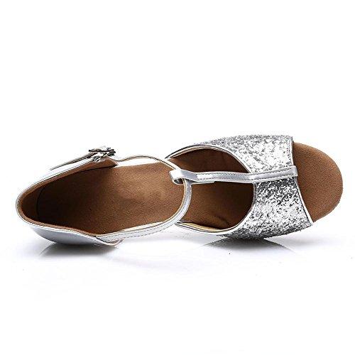 HROYL Zapatos de baile/Zapatos latinos de satín mujeres ES7-F16 7CM plateado