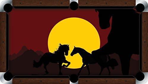 Mesa de billar sentía paño billar, color vivid, diseño de caballos al atardecer, 7 foot: Amazon.es: Deportes y aire libre