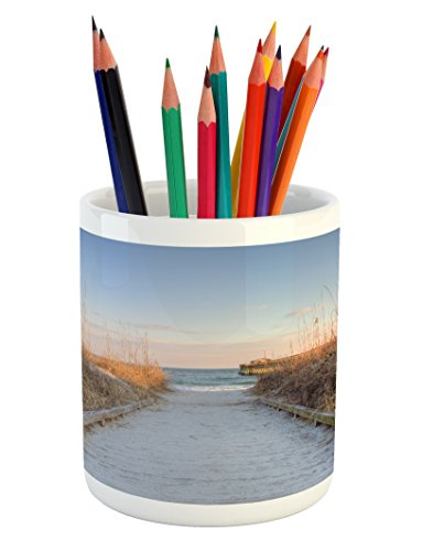 Lunarable Beach Pencil Pen Holder, Sunset Sea Oats on Atlantic Coast Myrtle Beach State Park Beach South Carolina, Printed Ceramic Pencil Pen Holder for Desk Office Accessory, Pale Brown (Carolina Student Desk)