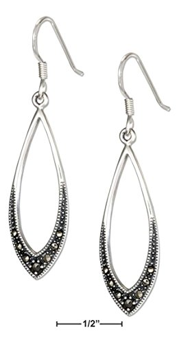 STERLING SILVER OPEN MARQUISE SHAPE MARCASITE EARRINGS