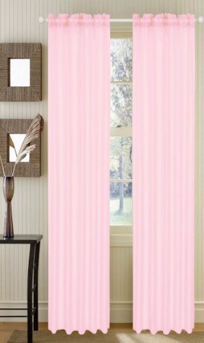 """4 Piece Solid Sheer Curtains, Panels, Window Drapes 55"""" X 84"""" (Pink)"""