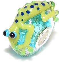 "Pro Jewelry .925 Sterling Silver Core 3D ""Green Spotted Lizard on Blue Metallic Flake Base"" Glass Charm Bead 1950"
