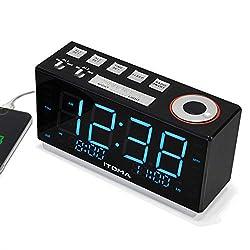 iTOMA iR508 Alarm Clock Radio, Digital FM Radio, Self-Setting, Auto DST, USB Charger, Dual Alarm with Snooze and Sleep Timer, Earphone Jack
