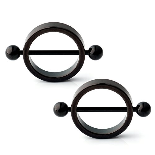 Ruifan 1Pair 14G Black Round Circle Nipple Shield Ring Bars 316L Surgical Steel Bar with Balls Body Piercing Jewelry (The Black Shield)