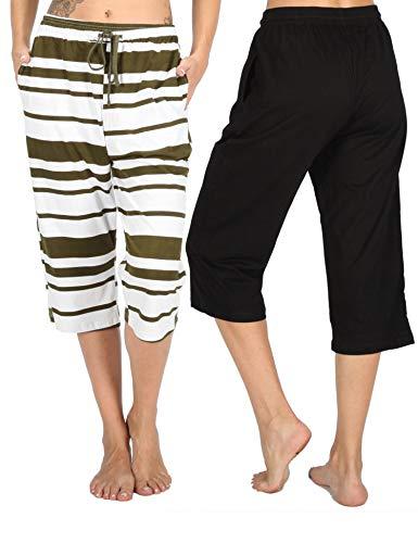 WEWINK CUKOO 100% Cotton Women Pajama Capri Pants Lounge Pants with Pockets Sleepwear (Black+ Olive Stripe, XXL=US 20)