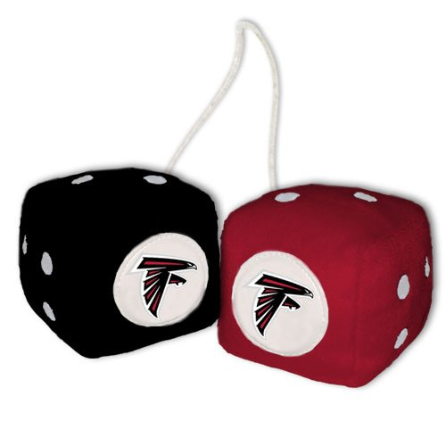 NFL Atlanta Falcons Fuzzy Dice,one red, one black w/logo,3