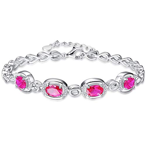 BONLAVIE July Birthstone Oval Cut Created Red Ruby Round Cut White CZ Silver Link Chain Bracelet for Girl