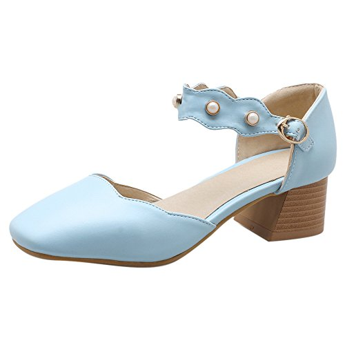 TAOFFEN Women Fashion Dress Sandals Block Heel Blue