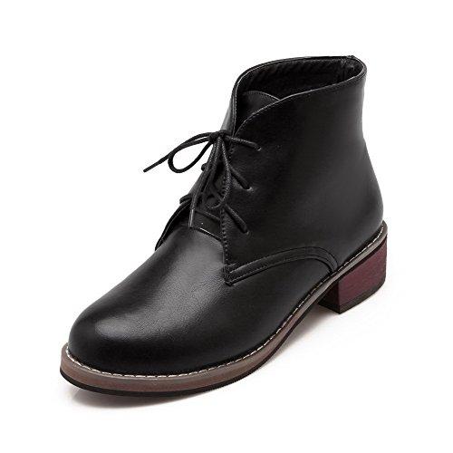 AmoonyFashion Women's Lace Up Round Closed Toe Low Heels Pu Low Top Boots, Black, - Va Richmond Malls