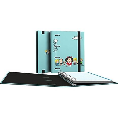 Grafoplás 88111947-Carpeta de anillas troqueladas A5, Diseño Mafalda Amigos, con 100 hojas de 90g: Amazon.es: Oficina y papelería