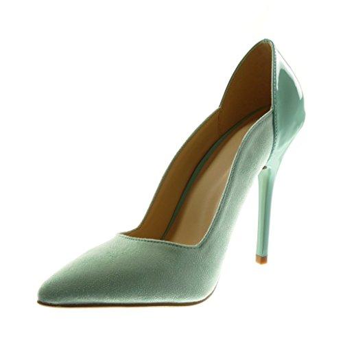 Haut cm Escarpin Mode Talon Aiguille Chaussure Clair Stiletto 11 Angkorly Verni Bleu Femme va0UOOW