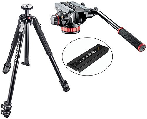 Manfrotto MT190X3 3 Section Aluminum Tripod w/ MVH502AH Pro Video Tripod Head with Flat Base and a Bonus Replacement Quick Release Plate ()