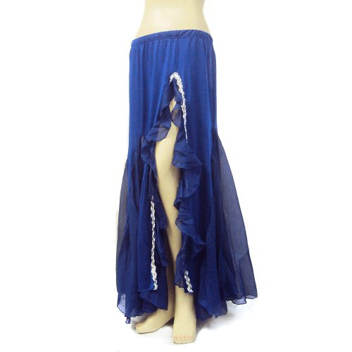 Performance Belly Dance Tango Salsa Long Chiffon Sequin Edge Slit Skirt (Flamenco Dance Costumes For Girls)