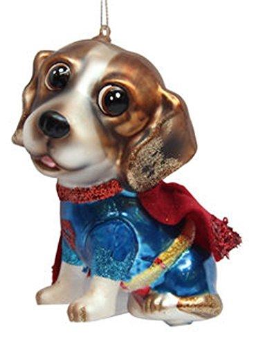 December Diamonds Blown Glass Ornament - Superhero Beagle - Ornament Dog Hound