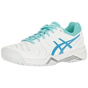 ASICS Women's Gel-Challenger 11 Tennis Shoe, White/Diva Blue/Aqua Splash, 9.5 M US