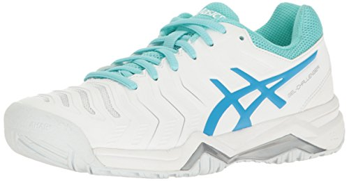 (ASICS Women's Gel-Challenger 11 Tennis Shoe, White/Diva Blue/Aqua Splash, 6 M US )