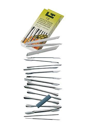 Louis Tellier ID2500 Kit de 18 Outils de Décoration + Pierre à Affuter