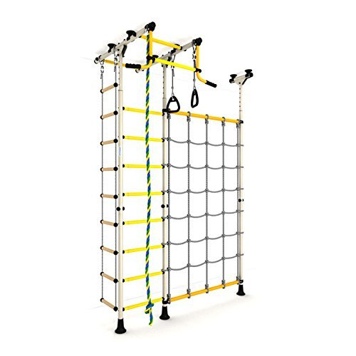 Indoor Kids Playground Play Set with Cargo Net / White Training Gym Sport Accessories Equipment: Rope ladder, Rope and Gymnastic Rings / Suit for Apartment, School and Playroom / Carousel R3
