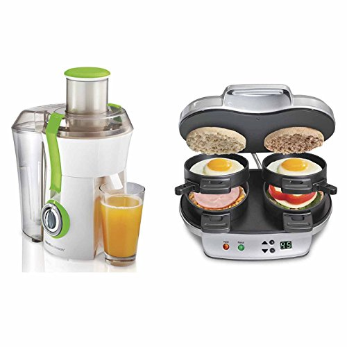 Hamilton Beach Big Mouth 800W Juice Extractor + Dual Breakfast (Wide Sandwich)