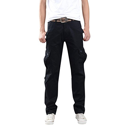 Duck Washed Dungaree Flannel Lined (Aurorax Clearance Men's Casual Cargo Pants, Multi-Pocket Sports Fitness Camo Work Pants (Black, 34=Waist:33.9