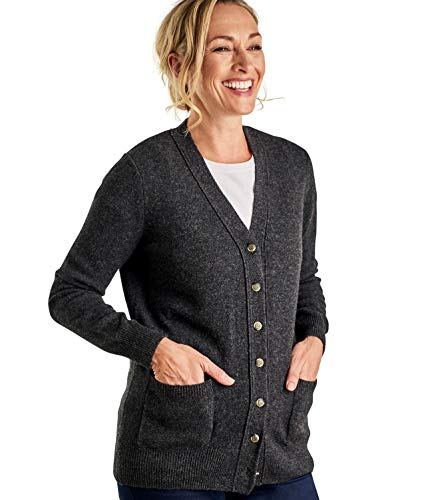 - WoolOvers Womens Lambswool V Neck Cardigan Charcoal, XS