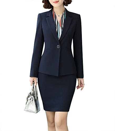 Women Two Pieces Blazers Work Office Lady Suit Business Blazer Jacket&Pant (Navy, 3XL)