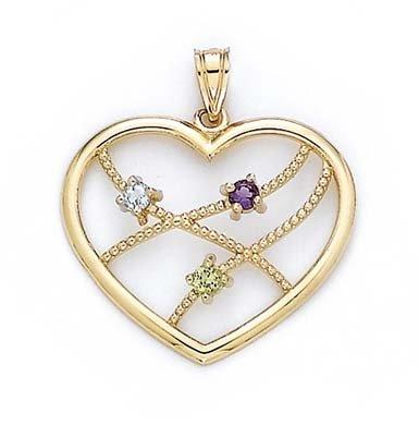 Tricolore tricolore 14 carats - 3 mm-JewelryWeb pendentif en forme de cœur