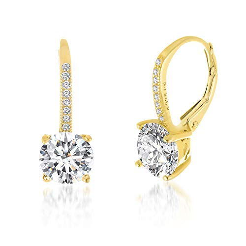 Devin Rose Round Dangle Drop Bridal Leverback Earrings for Women In Yellow Gold Plated 925 Sterling Silver Made With Swarovski Crystal (Yellow)