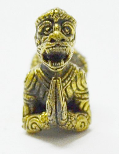 Thai Buddha Statue Lord Hanuman Ramayana Monkey King Muay Thai Life Protection Mini Amulet Talisman (Monkey Thai)