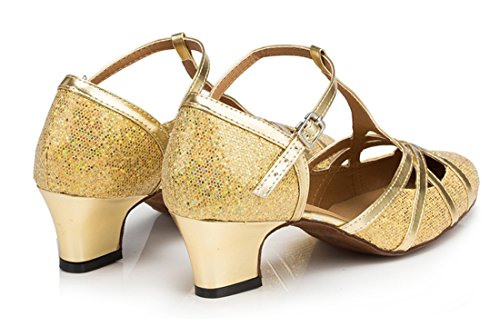 Womens Heel Mid Heel Glitter Salsa Ballroom Dance Tango 5cm Shoes Gold CM101 Latin PU TDA Leather Party dqEdfx