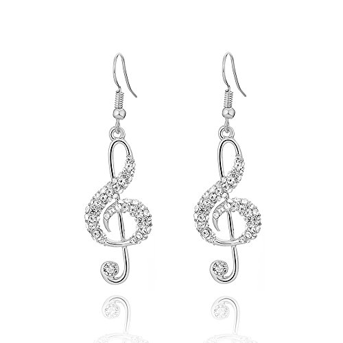 Music Note Dangle - White gold female alloy music note ear nail crystal dangle Earring Hook