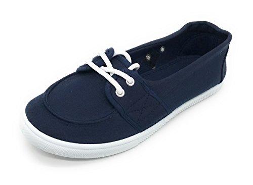 Blue Berry EASY21 Damen Canvas Round Toe Slip auf flachen Sneaker Oxford Bootsschuh Marine