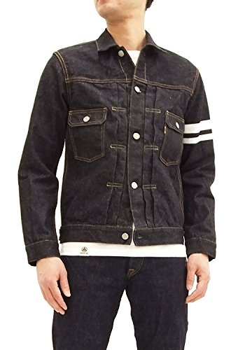 Pleated Denim Jacket (Momotaro Jeans 2105SP Men's Slim Fit Rinsed Denim Trucker Jacket With Stripe Japan 42 (US M/UK 38))