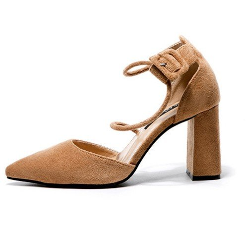 EU35 SHOESHAOGE En Chaussures Romaine Tip L'High Avec Grain Femme Sandales Gros Flat Heel Shoes Dames 6qO6tXrx