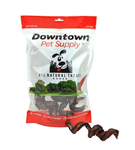 """Downtown Pet Supply 4""""-6"""" Curly Bully Sticks, Bull Bully Springs - Regular Select Thick - Dog Chew Treats (10 Pack)"""