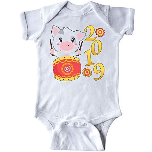 (inktastic - 2019 Year of The Pig- Cute Drum Infant Creeper Newborn White)