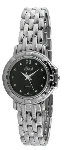 Swiss Edition Women's Round Luxury Silver Link Bracelet Black Dial Dress Watch SE3819L